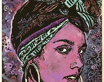 Alicia Keys Art by Matt Pecson, READY TO SHIP, Acrylic Painting on Canvas, 16x20, Original Painting, Wall Art