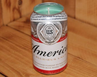Hand Poured Soy Candle in Handmade Upcycled Budweiser America Beer Can