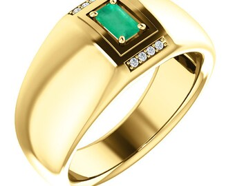 1.0 Carat Emerald Cut Natural Colombian Emerald & Diamond Men's Ring 18K Pure Gold, Emerald Band, Emerald Anniversary Ring, Men Emerald Ring