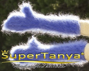 Hand knitted mohair mittens in blue by SuperTanya made to order