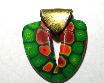 Green, Red, & Orange Polymer Clay Shield Shaped Pendant by Carol WIlson of PollyClayDesigns
