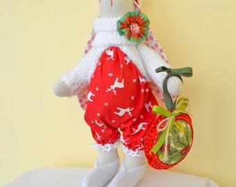 Christmas Bunny Rabbit textile doll Soft bunny toy softie Pretty Bunny Stuffed bunny rag doll Bunny lovey Fabric tilda rabbit Softie Gift