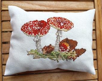 Woodland Decor Pillow Autumn Decor Toadstool Red Gingham Fabric