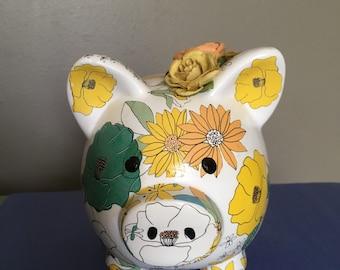 Flowered piggy bank