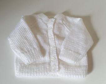 Hand Knitted Baby Cardigan. 0 - 3 Months. White.
