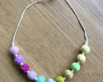 Necklace Made Of Felt Beads In Lilacs, Pinks, Yellows, Greens and Aqua Blues, Inter-spaced With Pearls,