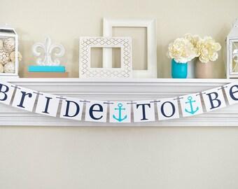 NAUTICAL Bridal Shower,  Bridal Shower Banner, Nautical Bachelorette,  Anchors, Seaside Wedding, Bachelorette Party, Navy and Teal Wedding