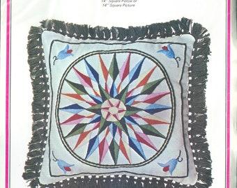 "1974 Sunburst Pillow DIY NIP Crewel Needlework Stichery Kit by Designer Joyce Goodhart 14"" x 14"" - Dutch Joy Designs Kit 974"
