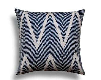 Navy Pillow Cover - Chevron Throw Pillow Cover - Zig Zag Pillow Cover - Chevron Pillows - Blue Pillow Cover - Blue Throw Pillow