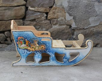 Wooden winter sled Russian themes wooden sleigh Handcrafted sled Russian style sled