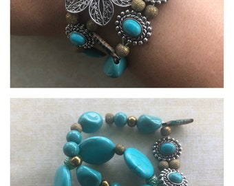 Turquoise double bracelet set