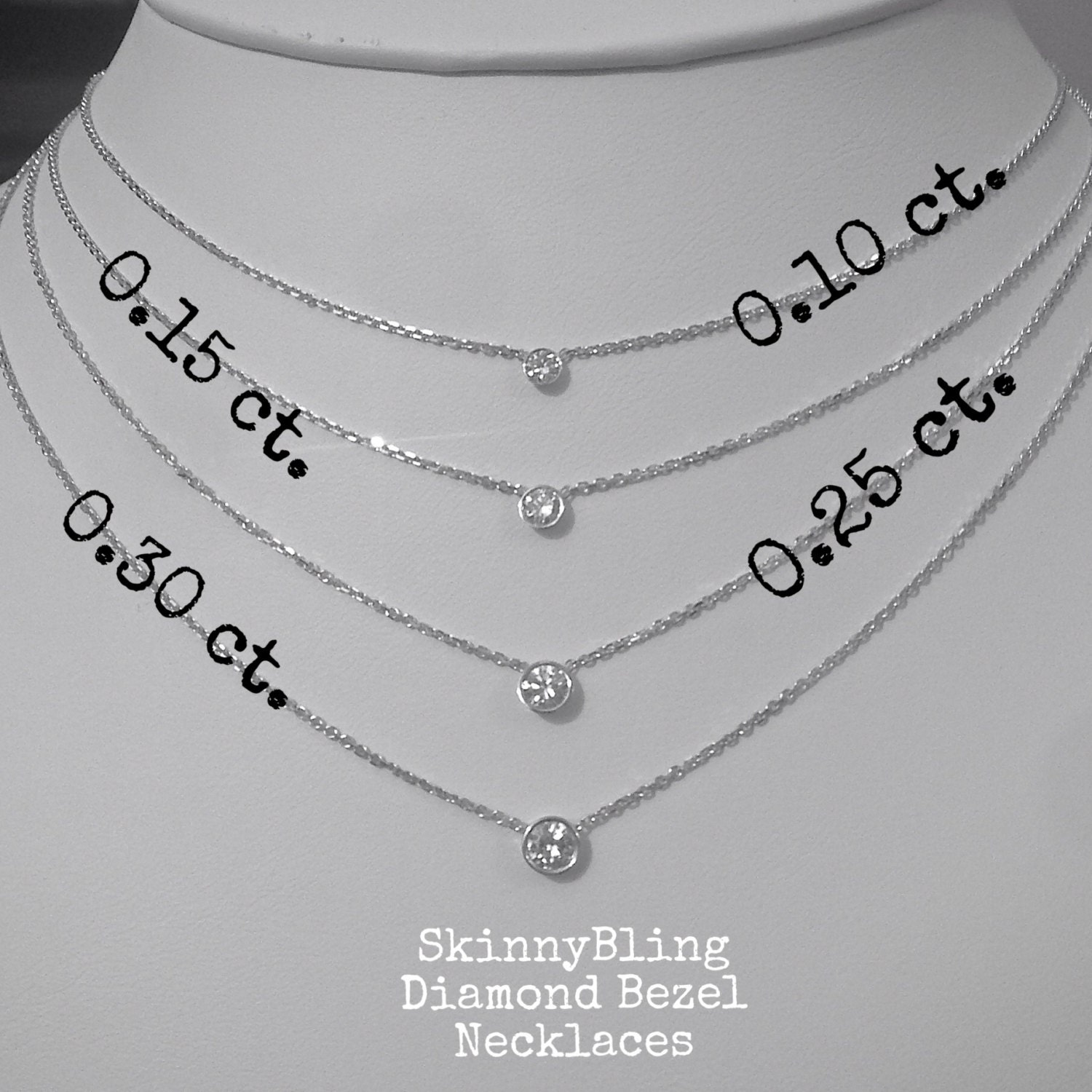 Bezel set 025 ct diamond solitaire necklace 14k white or yellow skinnybling mozeypictures Image collections