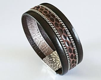 Bracelet men or women dark brown leather, snakeskin and smooth leather, magnetic clasp