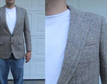 1970s men's gray taupe Harris Tweed wool sportcoat, handwoven tweed, vintage tweed blazer