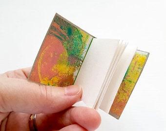 SALE! 20% off! Mini journal, journal, hand-bound book, accordion binding, pockets, book, mono-print