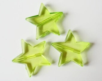 Beads 5 x 22mm TRANSPARENT green plastic star
