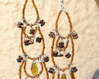 Earrings - boho - orange beads - dangle earrings-Bohemian earrings - hippie - gypsy