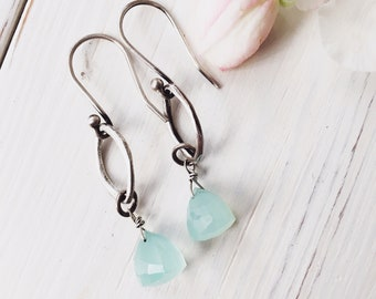 Handcrafted fine silver and blue chalcedony dangle earrings