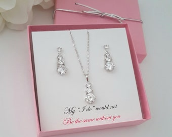 Bridesmaid Jewelry Set Bridesmaids' Gifts set Bridesmaid Gift box Ideas Bridesmaid Proposal Cubic Zirconia Pendant Earrings set 4,5,6,7,8