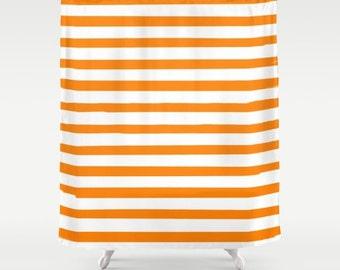 Orange Striped Shower Curtain, Kids Bathroom Decor, Boys Bath Curtain, Girls Bathroom, Fabric Shower Curtain, Standard or Extra Long