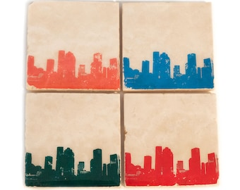 Houston Skyline Coaster Set (4 Stone Coasters, Orange, Green, Blue, & Red) Cityscape Home Decor