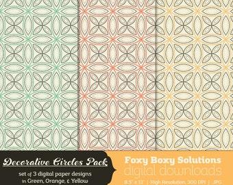 Decorative Circles Digital Paper Pack - set of 3 printable digital papers in green, orange, and yellow