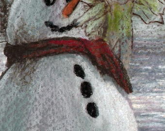 original art  aceo drawing red scarf snowman sugar plum fairy winter