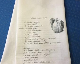 Custom dish towel with family recipe teacher gift Holiday
