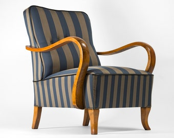 Striped Art Deco armchair  - fully restored