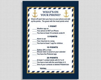 What's On Your Phone Baby Shower Game, Nautical Navy & Gold Anchor, Search Cell Shower Game, INSTANT PRINTABLE