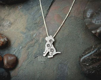 Floral Pitbull Pendant, sterling silver pit bull, dog necklace, wildflower, wildlife, dog jewelry