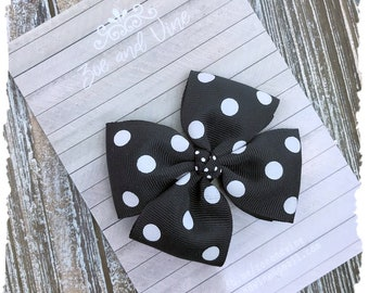 READY TO SHIP, Infant Baby Toddler Girls Large Pinwheel Hair Bow, Black White Polka Dot