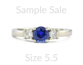 Size 5.5 Ready To Ship, Blue Sapphire Engagement Ring, Blue Sapphire Wedding Ring, Sample Sale