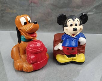 Walt Disney Productions Mickey Mouse pluto Dog Plaster Figures