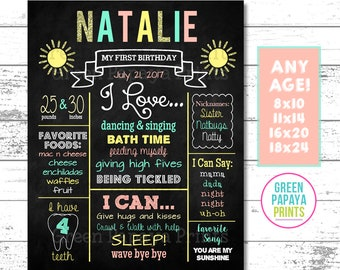 You Are My Sunshine Birthday Sign, First Birthday Chalkboard, Birthday Poster, Mint Teal, Coral, Yellow, Glitter, Printable, Digital File