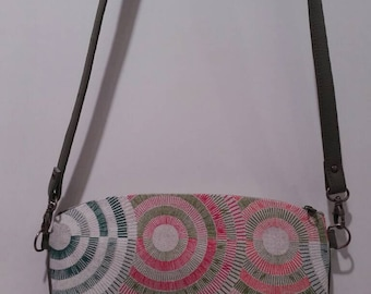 Fabric and faux leather shoulder bag