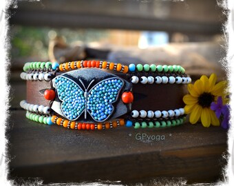 Blue BUTTERFLY Cuff leather BRACELET HIPPIE jewelry Statement jewelry colorful beaded wristband Boho Chic Summer Festival jewelry GPyoga