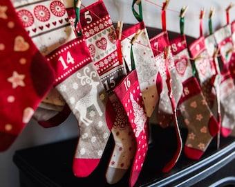 Advent calendar, Stockings advent calendar, Fabric advent calendar , Christmas Stockings, Advent calendar, Mini stockings,Christmas gift