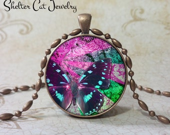 "Butterfly Necklace in Purple - 1-1/4"" Circle Pendant or Key Ring - Handmade Wearable Photo Art Jewelry - Nature - Gift for her"