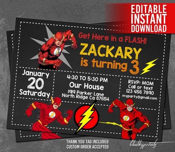 The Flash Invitation Instant Download, Flash Invitations, Flash Superhero Invitations, Flash Birthday Invitation, Flash Thank You Tag Free
