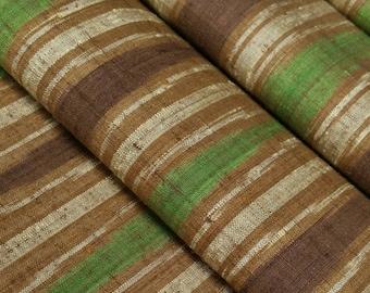 Vintage, green, brown and tan wavy striped Japanese tsumugi, pongee, kimono silk - 71 inches (180 cm)