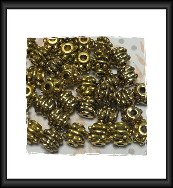 Barrel Antique Gold Finish Bali Style Beads 5 x 5 mm - 14 beads