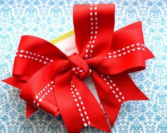In Stitches...Red XL Diva Bow