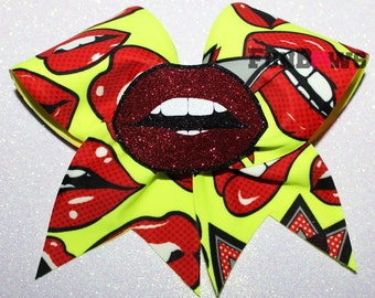 HOT LIPS  3-D cutout Cheer  bow by FunBows - WOW   !!