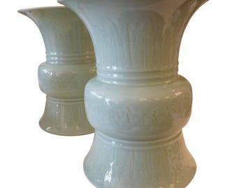 Celadon Green Ceramic Glazed Urns- Pair