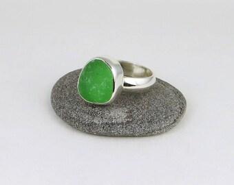 Bright Green Sea Glass Bezel Ring Maine Size 8