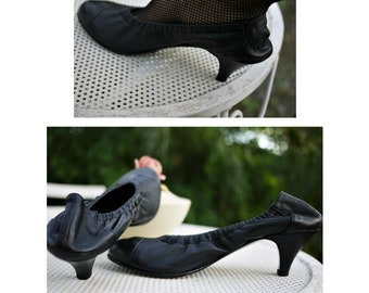 Vintage Made in Italy/dance Shoes/black leather pumps/Dance Shoe/Real leather/Size 39/Size UK 6-6.5/US 8.5-9