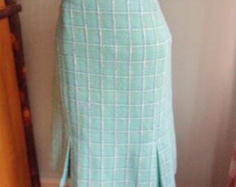Turquoise Plaid Skirt, Size 14,  Knee Length A-Line Skirt with Kick Pleats
