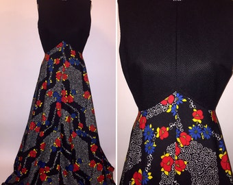 Vintage 1970s 70s Black Bright Floral Sleeveless Maxi Dress Gown Size Small Medium Polyester Hippie MOD