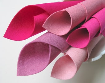 Tickled Pink, Wool Felt, 8x12 Inch Sheets, 1mm Thick, Shades of Pink, Merino Wool, Baby Pink, Cerise, Deep Pink, Lavender Pink, Rose Pink